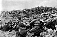 May 1944: Fallen Polish soldiers on the Snake�s Head Ridge.